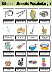 English worksheet kitchen utensils vocabulary 2 and for Kitchen set name in english
