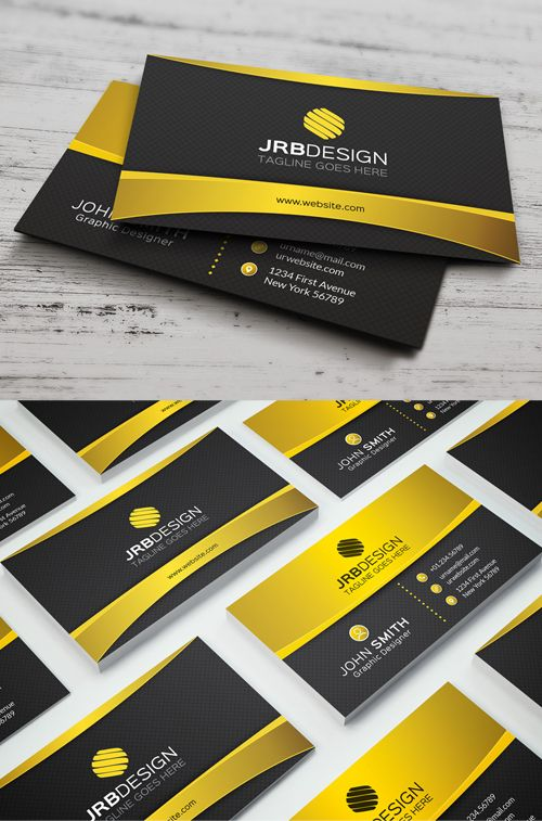 Golden Business Card #businesscards #businesscardtemplates #visitingcards #psdtemplates