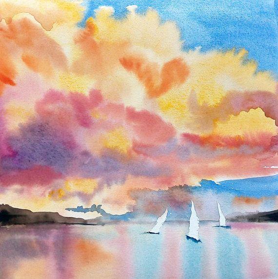 Ocean Painting Sea Watercolor Landscape Sunset Colorful Ocean Painting Watercolor Ocean Watercolor Landscape