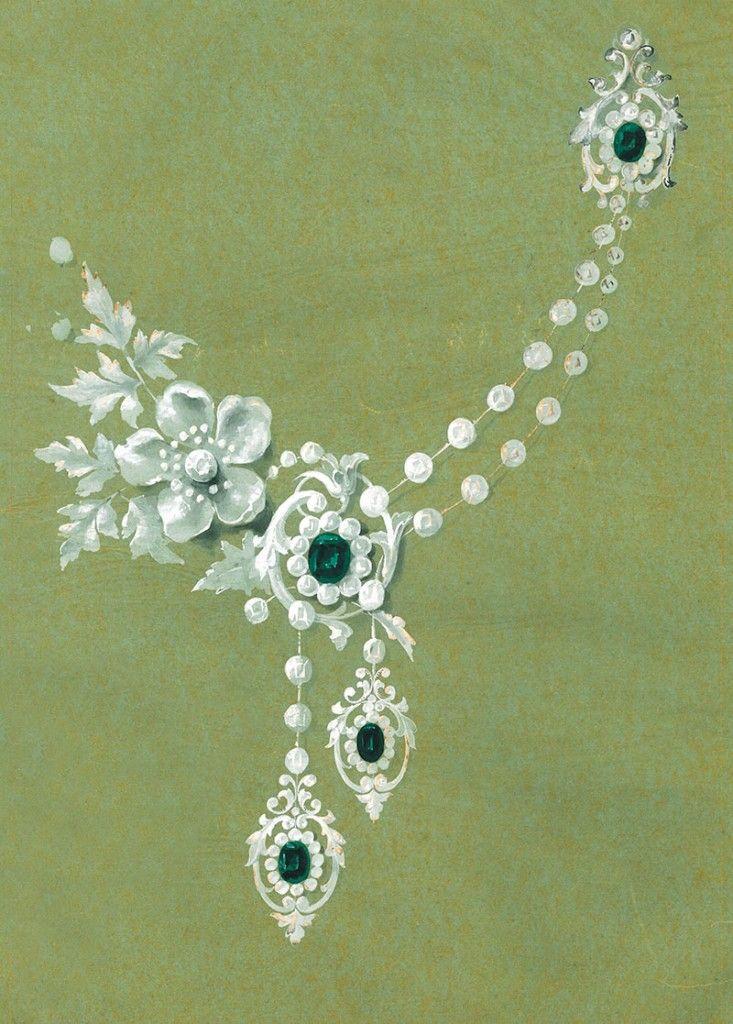 Mellerio, devant de corsage émeraudes et diamants et broche d'épaule le tout monté en écharpe, circa 1888, crayon et gouache sur calque encollé sur papier.