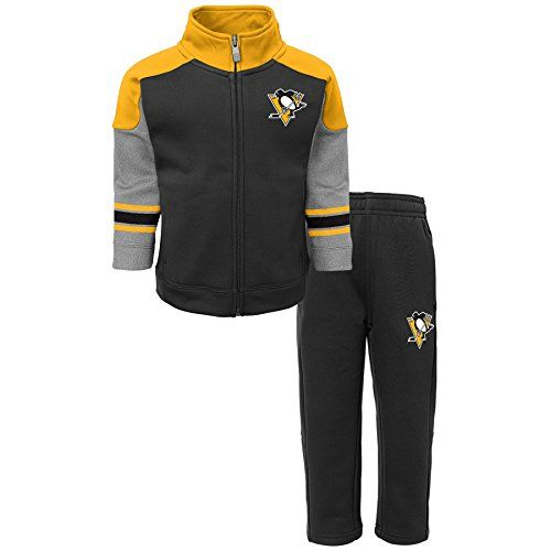 "NHL Pittsburgh Penguins Children Boys ""Shutdown"" Jacket & Pant Set, 3T, Black  https://allstarsportsfan.com/product/nhl-pittsburgh-penguins-children-boys-shutdown-jacket-pant-set-3t-black/  Officially licensed by the NHL Full zip jacket Silicone printed art"