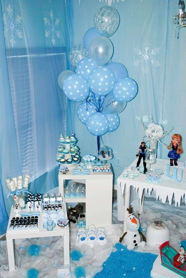 Fun treats and decoratons at a Frozen birthday party! See more party planning ideas at CatchMyParty.com!