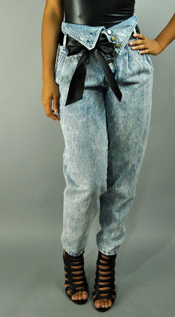 80's Acid Washed Fold Over Jeans!!! I hope this never comes back. Pleats are not attractive.