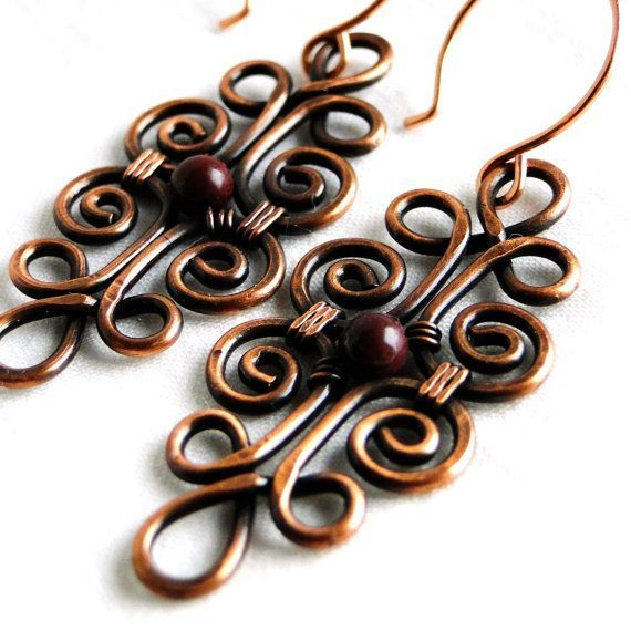 Wire Jewelry, Purple Stones, Mookaite, Jasper, Motif Design, Antiqued Copper Jewelry, Wire Wrapped Earrings via Etsy