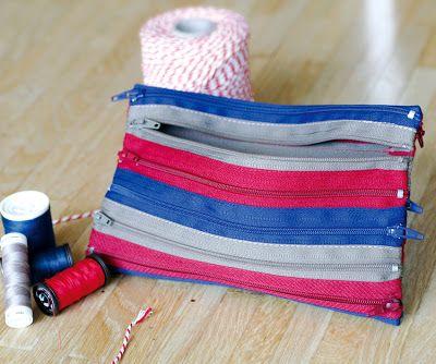 So, ich habe wieder eine kleine Tasche genäht: geht ganz einfach mit ein paar Reißverschlüssen aus der Ramschkiste. Beim Kauf jeden Zippe...
