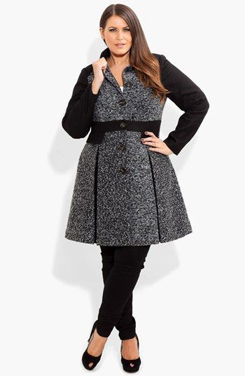 City Chic Bouclé Fit  Flare Jacket (Plus Size) available at #Nordstrom