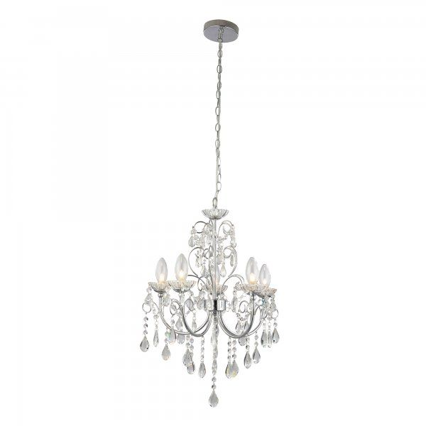 61384 Tabitha 5 Light Pendant IP44 Polished Chrome