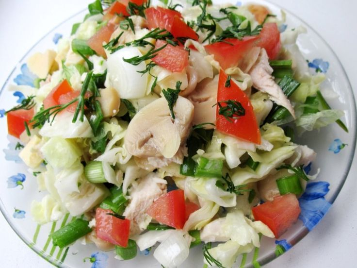 Chopped Salad with chicken, marinated mushrooms and cheese