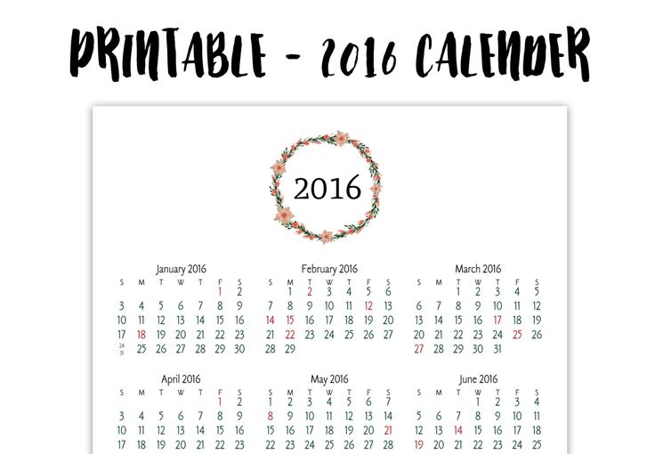 2016 Printable Calender Full Page Floral 85 X 11
