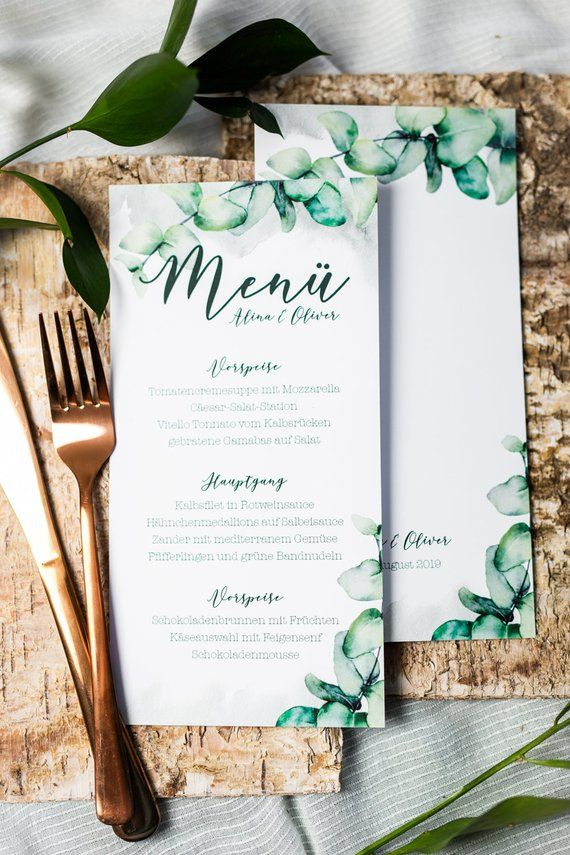 Menu cards for weddings in the countryside with eucalyptus, natural wedding pareterie in watercolor look-PDF file is personaized