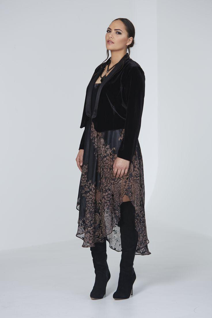 Chocolat 72430 - Cropped Tux Jacket, 72281CD - China Doll Silk Dress