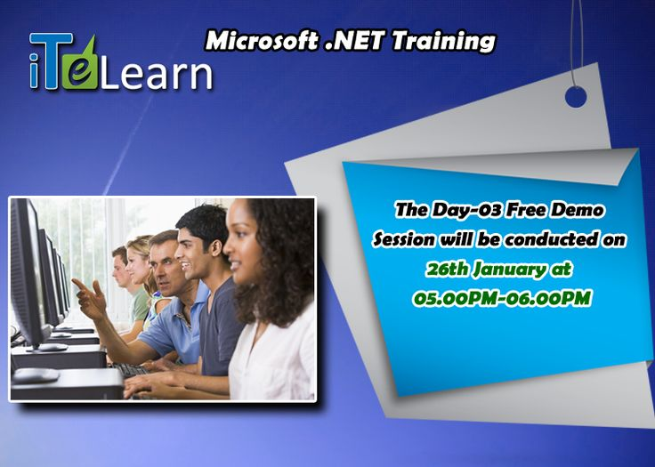 Did you register for .Net online live demo session? Save quickly your spot! Still there is time for you to join this expert interactive session today. It's an exclusive chance for you to brush up your skills and get your job on hand.  For details, visit http://www.itelearn.com/events/dotnet-framework-live-training/