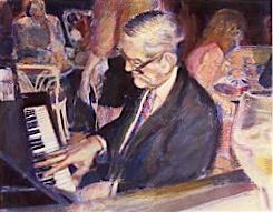 Ralph Sutton at Cafe des Copains, Toronto, chalk pastel