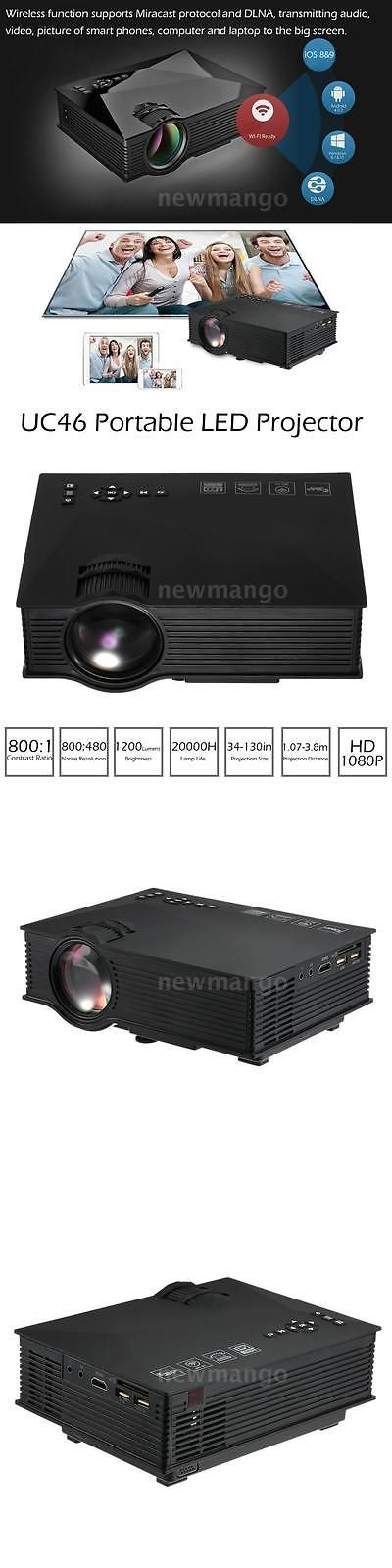 Home Theater Projectors: Uc46 Wifi 1200 Lumens Hd 1080P Led Video Projector Wifi Home Theater Tv Usb Vga -> BUY IT NOW ONLY: $64.55 on eBay!