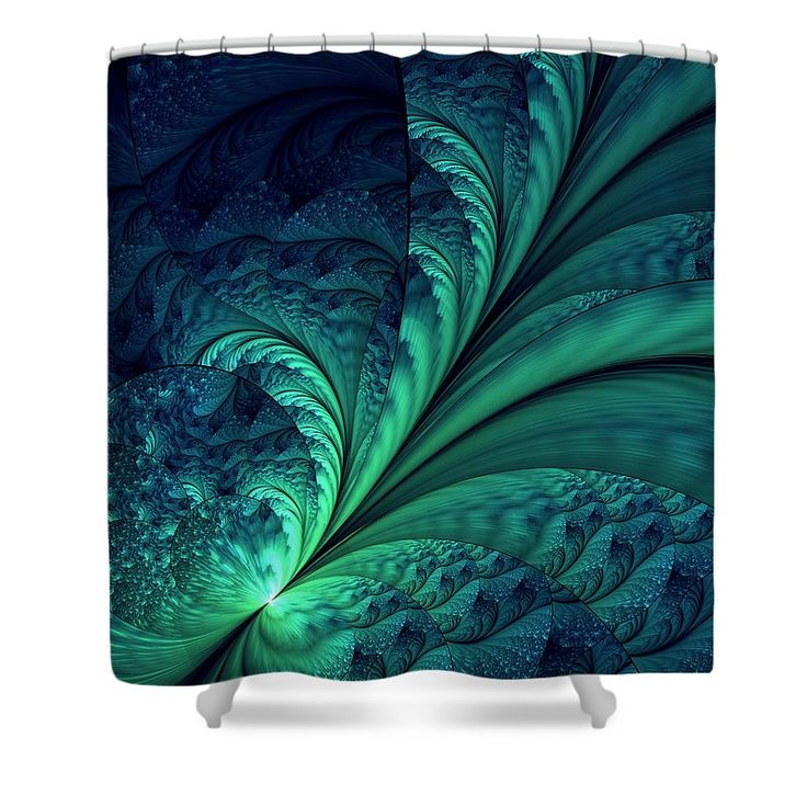 Abstract Shower Curtain featuring the digital art Blue Green Feathes by Oksana Ariskina