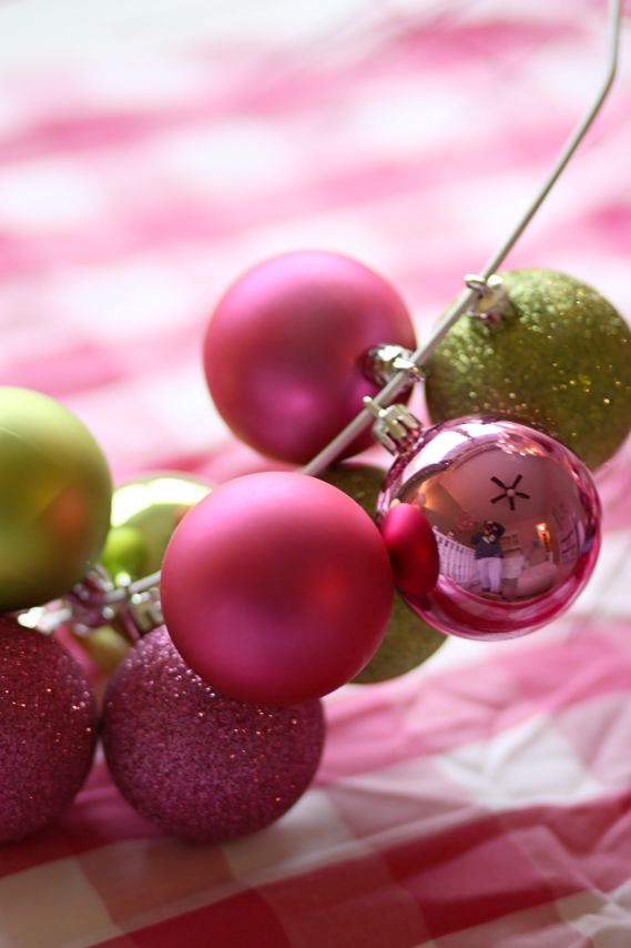 Easy DIY Ornament Wreath - I would use different sized ornaments and hot glue the top of the ornament to the bottom part.