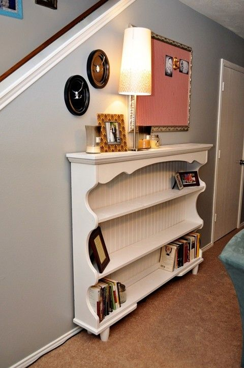 Old 80's Hutch turned into shelving for the living area.
