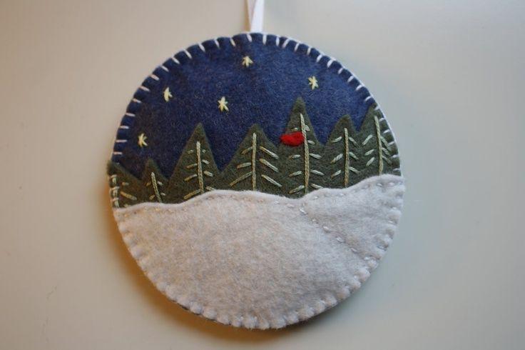 embroidered felt ornaments | Embroidered felt Christmas scene ornament | Merry Xmas