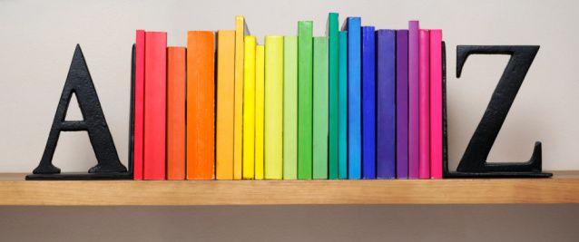 Fotografia De Stock Spectrum Of Books Between A Z