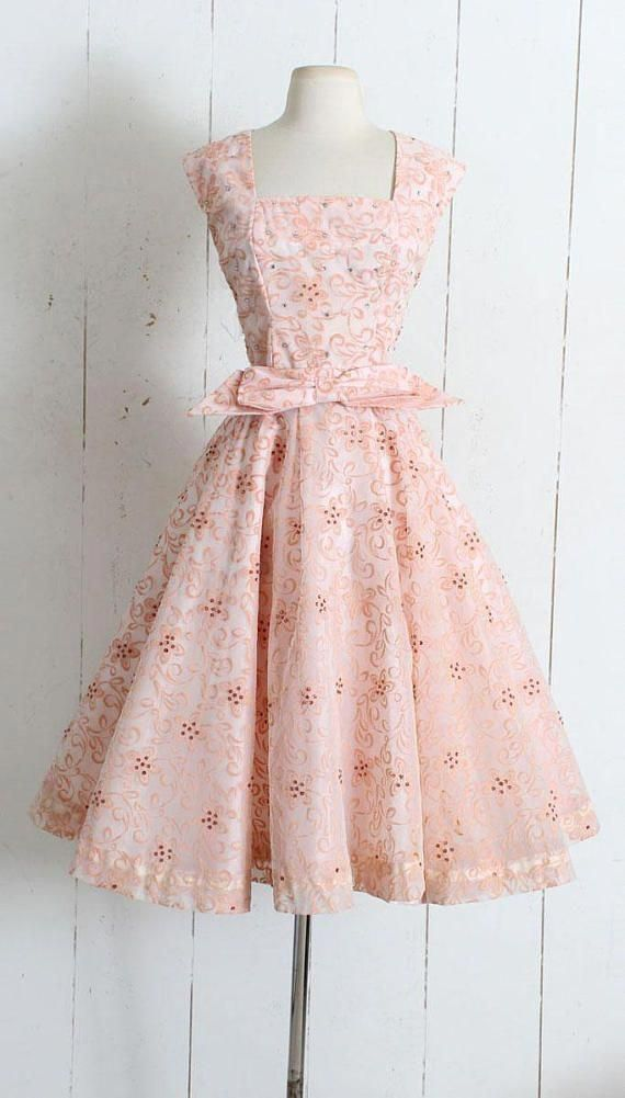 9801030f08 Vintage 1950s Dress Beautiful 1950s flocked dream of a dress! Raised fuzzy  floral print with sequins and rhinestone accents