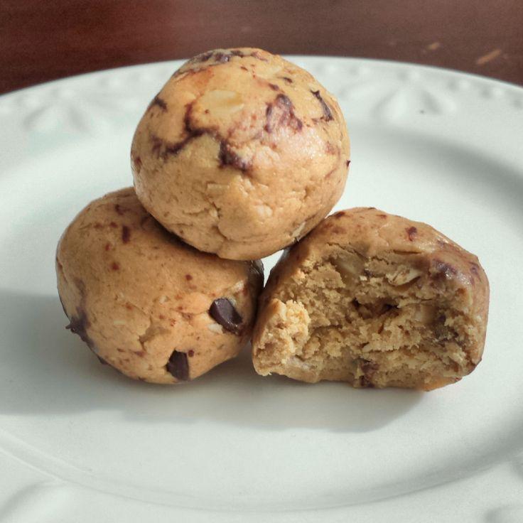 Vegan Cookie Bites! (Protein Bites) -2 scoops Arbonne's Fit Essentials Vanilla Protein [vegan] -1/4 c. honey -1/3 c. favorite nut butter (I used PB) -1/2 c. oats *optional mini vegan chocolate chips! **gluten free, dairy free, vegan