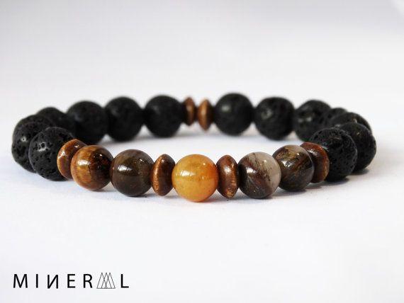 Bracelet pour homme en pierres semi-précieuses par MNRL sur Etsy