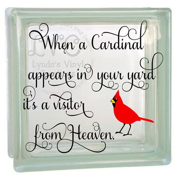 When a cardinal glass block decal by lyndasvinylcreations on etsy