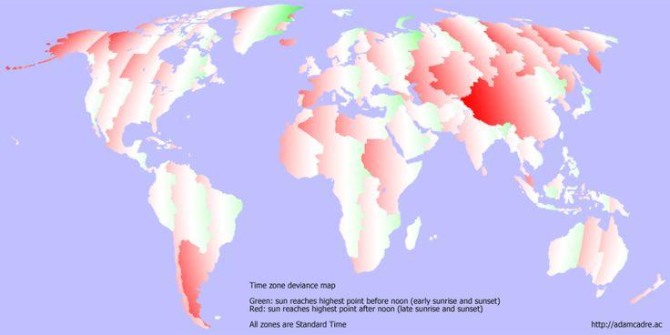 Amanece muy pronto por aquí: mapa de la desviación entre la hora solar y la oficial