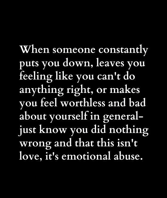 Narcissists like to put you down, making out you're mistaken leaving you feeling w…