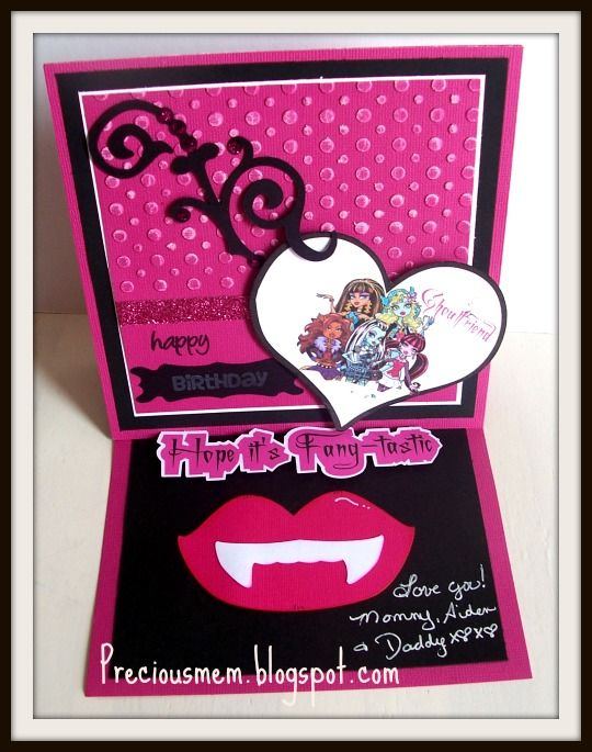 Hi there!     For todays DT post I am sharing a Birthday card I made my 8 yr old daughter.     She is a Monster High fanatic!     She has c...