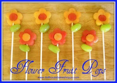 Flower Fruit Pops - made of melon and green grapes  I LOVE this idea for Easter, a spring brunch, a shower or as a class treat (healthy and fun)!