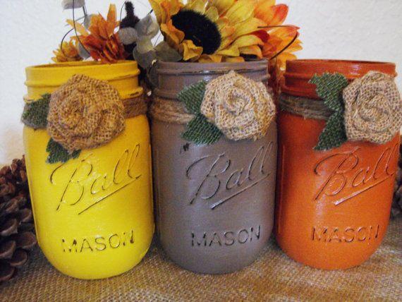 Shabby Country Chic  Dairy Farm Barnyard  Wedding Mason Jars  Centerpieces Home Decor