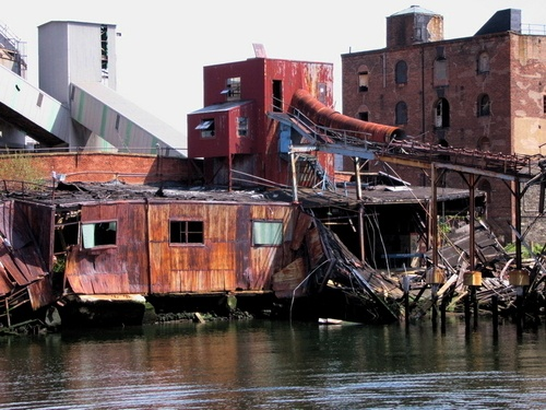 Industrial waterfront, Red Hook, Brooklyn, New York City.
