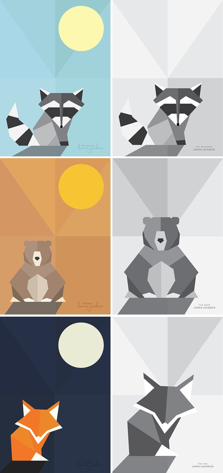 Free geometric animal posters printable. Raccoon, bear and fox. Poster for Nursery or childs room. Gratis dyre plakater Printable. Vaskebjørn, Bjørn og ræv.