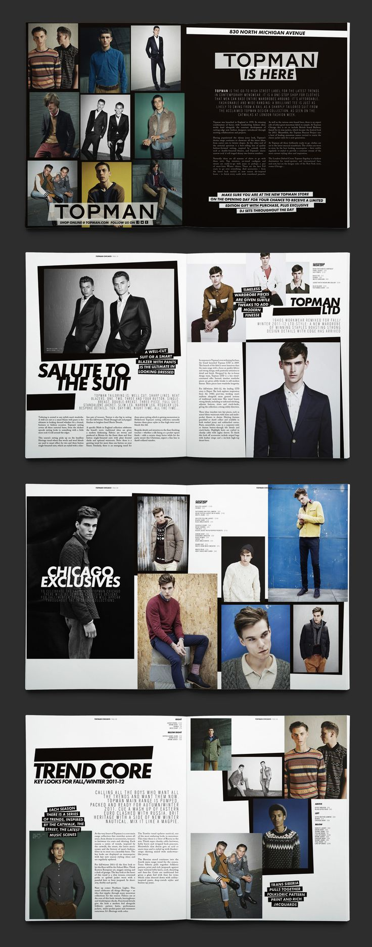Fashion catalog from TopMan. I like the abstractness from the shape of the boxes they put the pictures in. Nice placement for the text.