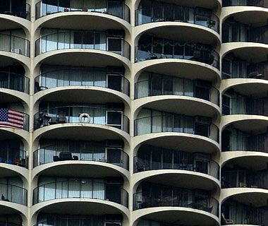 Balconies on Marina City in Chicago, a pair of towers famous for their corncob-like appearance.