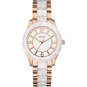 GUESS White and Rose Gold-Tone Sparkle Sport Watch