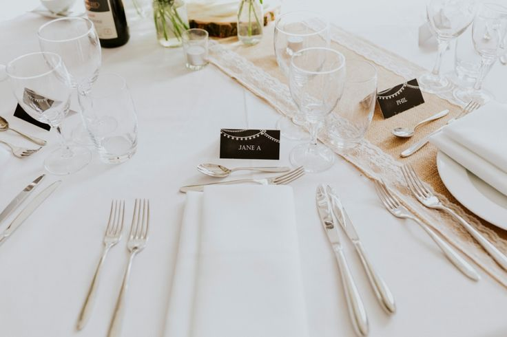Simple and elegant table settings - try not to clutter your tables too much. Photo by Benjamin Stuart Photography #weddingphotography #tabeldecor #tablesetting #namecard #weddingbreakfast #weddingdecor