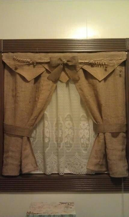 Burlap bathroom curtains i made curtain ideas for Kitchen valance ideas pinterest