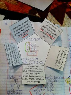 Interactive Math Notebooks:  Least Common Multiple and Greatest Common Factor Ladders