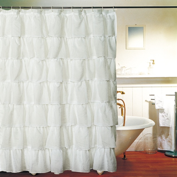 White Gypsy Shabby Chic Ruffled Fabric Shower Curtain 20 Would Need 2 For Scarlett 39 S Window