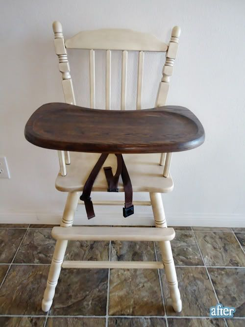 Loving this two-toned high chair makeover. I like the idea of painting all the spindles that are hard to sand, but stripping and finishing the tray in something food safe.