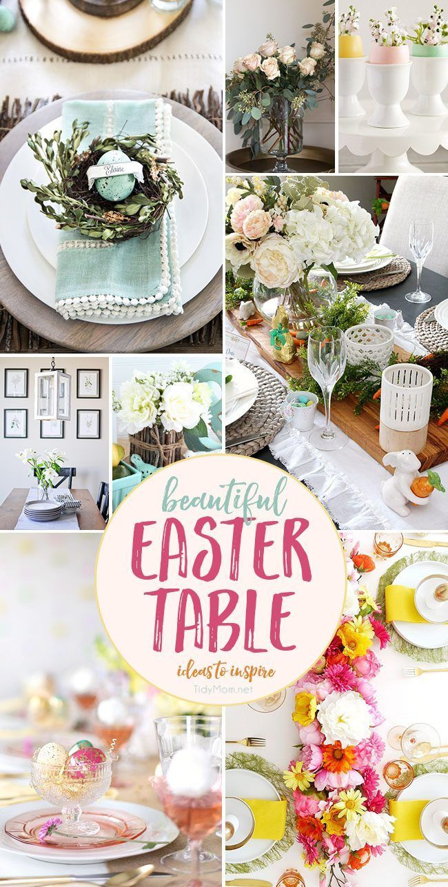 Whether you're looking for simple or elegant, these enchanting EASTER TABLE IDEAS will get your Easter dinner or brunch hopping. Most of these ideas would also be beautiful for Mother's Day or a bridal shower!! Get all the details at TidyMom.net.