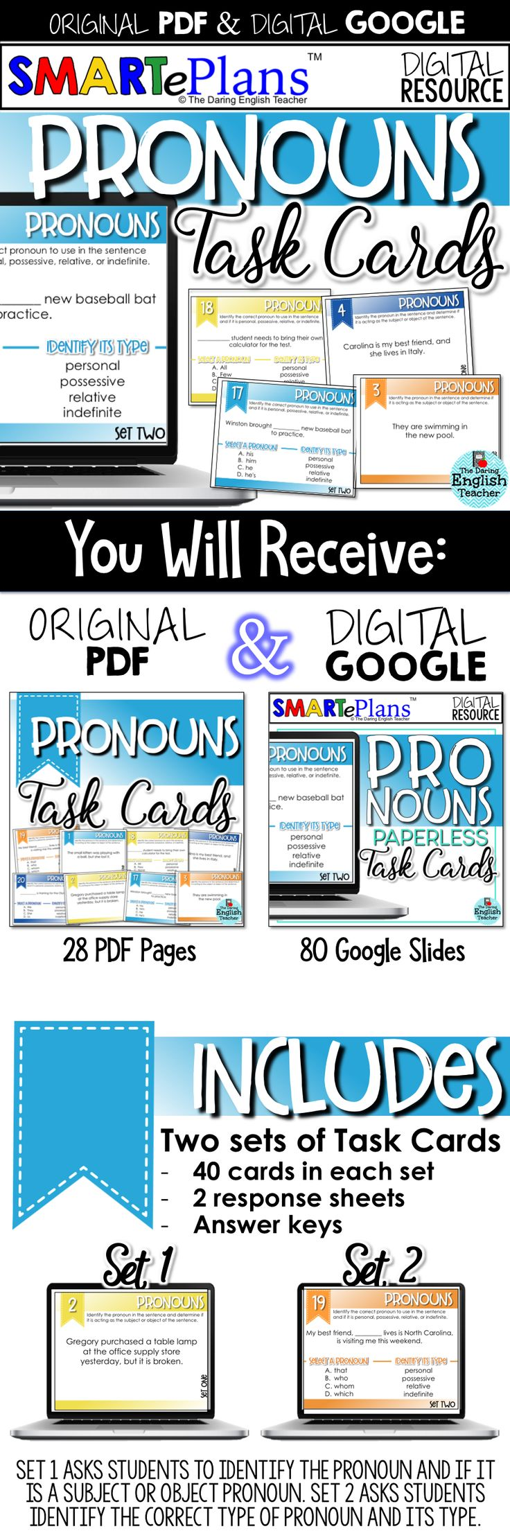 Paperless and traditional pronouns task cards to introduce, practice, and review grammar skills with your middle school and high school English language arts class.