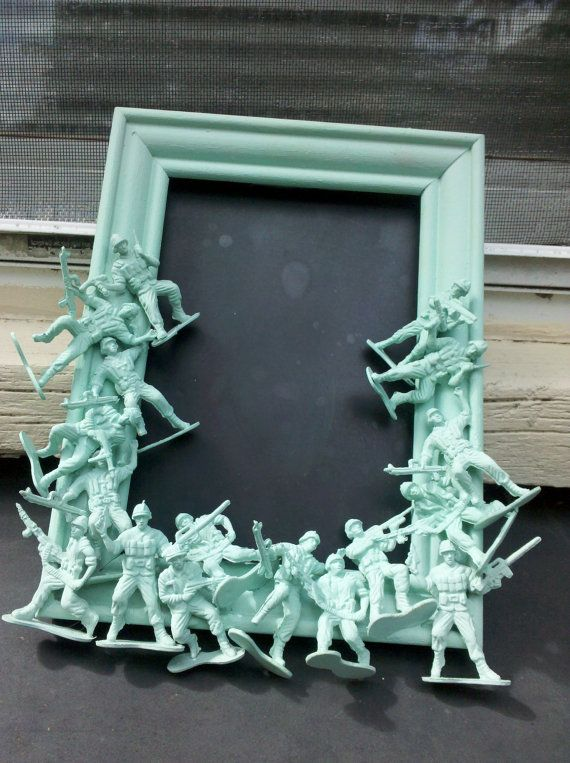 army men chalkboard - make it a picture frame instead and that would be adorable in a little boys room!