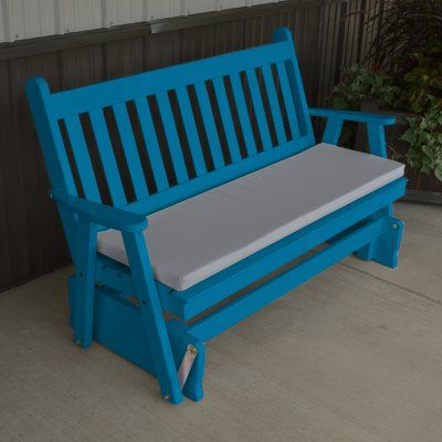 A & L Furniture Yellow Pine Traditional English Outdoor Bench Glider Caribbean Blue - 603-CBP CARIBBEAN BLUE