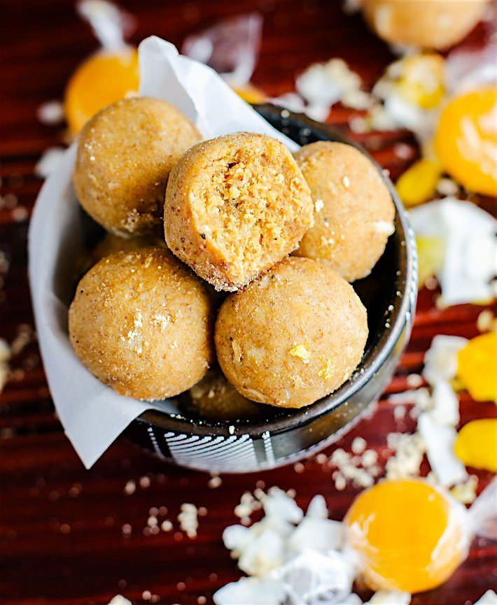 Grain Free no bake coconut peanut butter butterscotch bites! Energy/dessert bites that taste like butterscotch candy! Simple healthy ingredients! Vegan friendly and easy to make!
