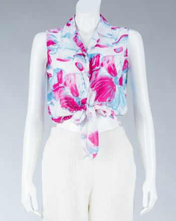Animale casual shirt, sleeveless, with floral printed motif, with the accent on the front can bind