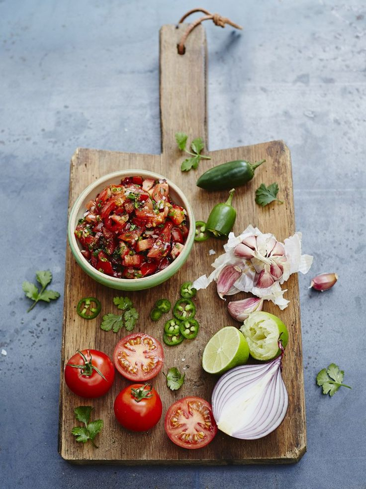 "Classic tomato salsa ""This tomato salsa is a great accompaniment to grilled fish and meat, and lovely served with fajitas or spooned into a falafel wrap """