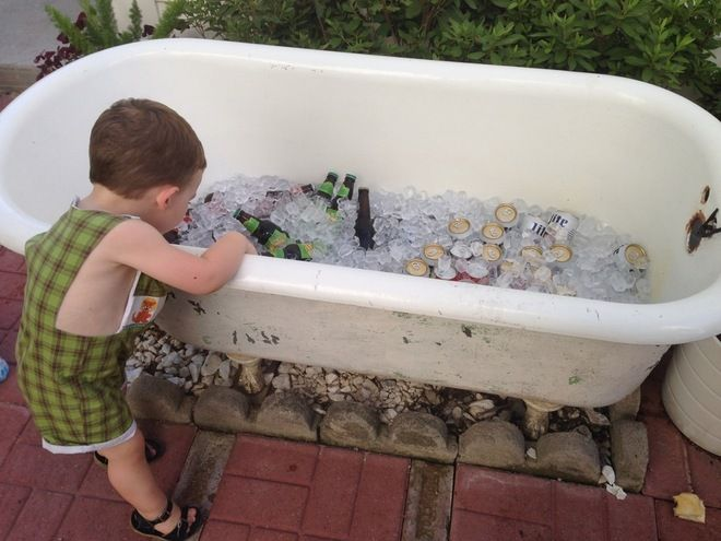 Old Clawfoot Bath Tub Used As A Giant Cooler For Parties Or A Planter The  Rest